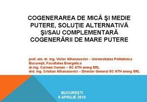COGENERAREA DE MIC I MEDIE PUTERE SOLUIE ALTERNATIV
