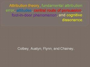 Attribution theory fundamental attribution error attitudes central route
