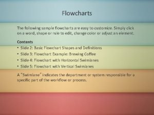 Flowcharts The following sample flowcharts are easy to
