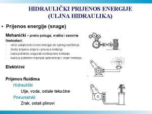 HIDRAULIKI PRIJENOS ENERGIJE ULJNA HIDRAULIKA Prijenos energije snage