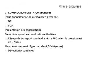 Phase Esquisse COMPILATION DES INFORMATIONS Prise connaissance des