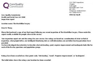 CQC PMS Inspections Citygate Gallowgate Newcastle upon Tyne