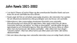 John Rawls 1921 2002 I sin bok A