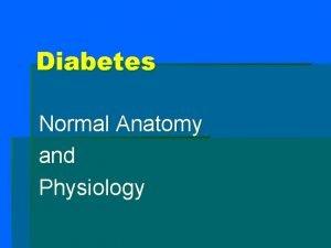 Diabetes Normal Anatomy and Physiology Pancreas abdominal organ
