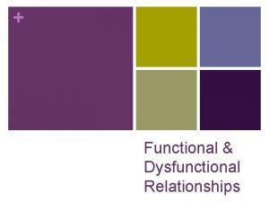 Functional Dysfunctional Relationships Functional vs Dysfunctional Relationships Make