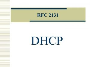 RFC 2131 DHCP Dynamic Host Configuration Protocol Definitions