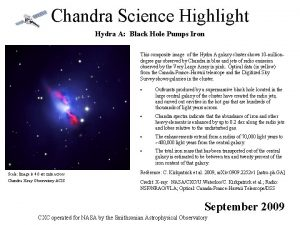 Chandra Science Highlight Hydra A Black Hole Pumps