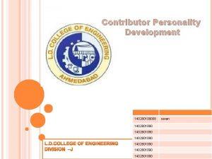 Contributor Personality Development 140280109008 1402801090 1402801090 savan The