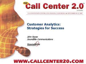 Customer Analytics Strategies for Success John Keyes Sound