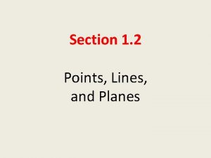 Section 1 2 Points Lines and Planes Objective
