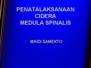 PENATALAKSANAAN CIDERA MEDULA SPINALIS MAIDI SAMEKTO PENATALAKSANAAN CIDERA