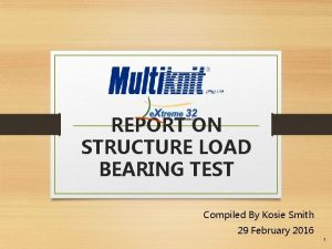 REPORT ON STRUCTURE LOAD BEARING TEST Compiled By