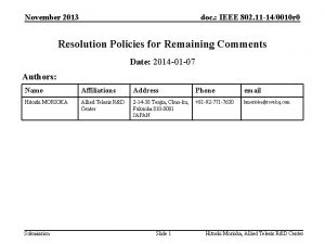 November 2013 doc IEEE 802 11 140010 r