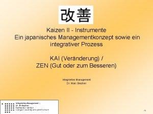 Kaizen II Instrumente Ein japanisches Managementkonzept sowie ein