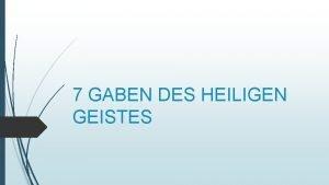 7 GABEN DES HEILIGEN GEISTES RAT URCHT F