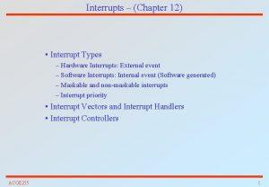 Interrupts Chapter 12 Interrupt Types Hardware Interrupts External