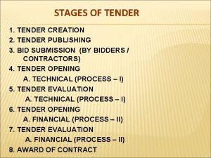 STAGES OF TENDER 1 TENDER CREATION 2 TENDER