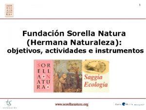 1 Fundacin Sorella Natura Hermana Naturaleza objetivos actividades