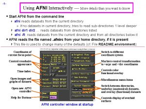 1 Using AFNI Interactively More details than you