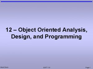 12 Object Oriented Analysis Design and Programming Mark