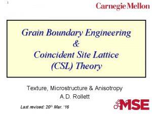 1 Grain Boundary Engineering Coincident Site Lattice CSL