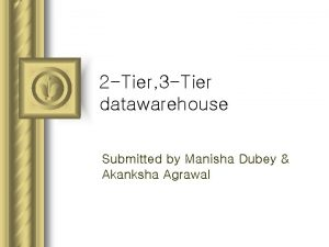 2 Tier 3 Tier datawarehouse Submitted by Manisha