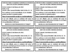 CONVOCATORIA A ASAMBLEA GENERAL DE AFILIADOS JUNTA DE