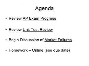 Agenda Review AP Exam Progress Review Unit Test