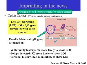 Imprinting in the news Potential blood test to