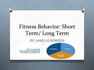 Fitness Behavior Short Term Long Term BY JANELLE