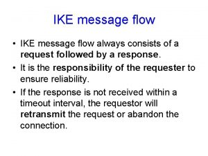 IKE message flow IKE message flow always consists