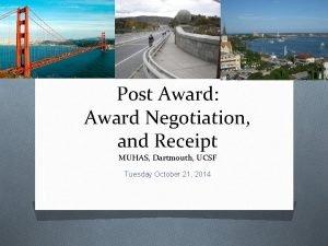 Post Award Award Negotiation and Receipt MUHAS Dartmouth