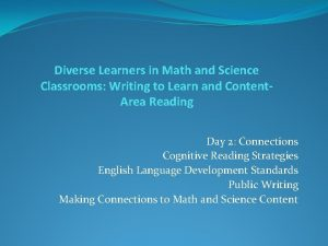 Diverse Learners in Math and Science Classrooms Writing