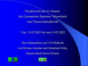 Projektwoche der 10 Klassen des Gymnasiums Ramstein Miesenbach