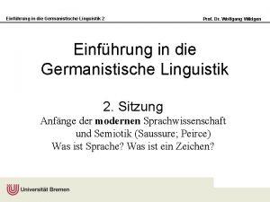 Einfhrung in die Germanistische Linguistik 2 Prof Dr