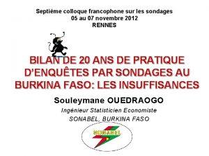 Septime colloque francophone sur les sondages 05 au