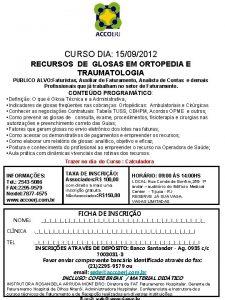 CURSO DIA 15092012 RECURSOS DE GLOSAS EM ORTOPEDIA
