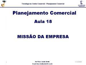 Tecnlogo em Gesto Comercial Planejamento Comercial Aula 18