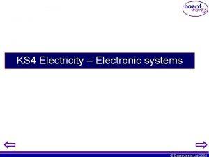 KS 4 Electricity Electronic systems Boardworks Ltd 2003