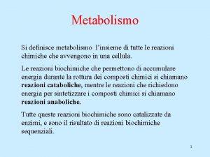 Metabolismo Si definisce metabolismo linsieme di tutte le