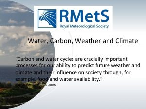 Water Carbon Weather and Climate Carbon and water