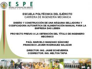 ESCUELA POLITCNICA DEL EJRCITO CARRERA DE INGENIERA MECNICA