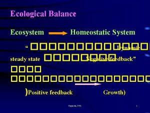 Ecological Balance Ecosystem Homeostatic System Dynamic steady state
