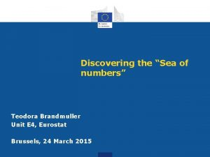 Discovering the Sea of numbers Teodora Brandmuller Unit