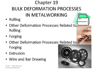 Chapter 19 BULK DEFORMATION PROCESSES IN METALWORKING Rolling