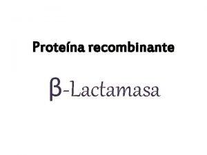Protena recombinante Lactamasa Tecnologa de DNA recombinante Herramientas