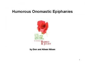 Humorous Onomastic Epiphanies by Don and Alleen Nilsen