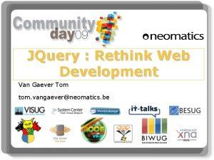 JQuery Rethink Web Development Van Gaever Tom tom