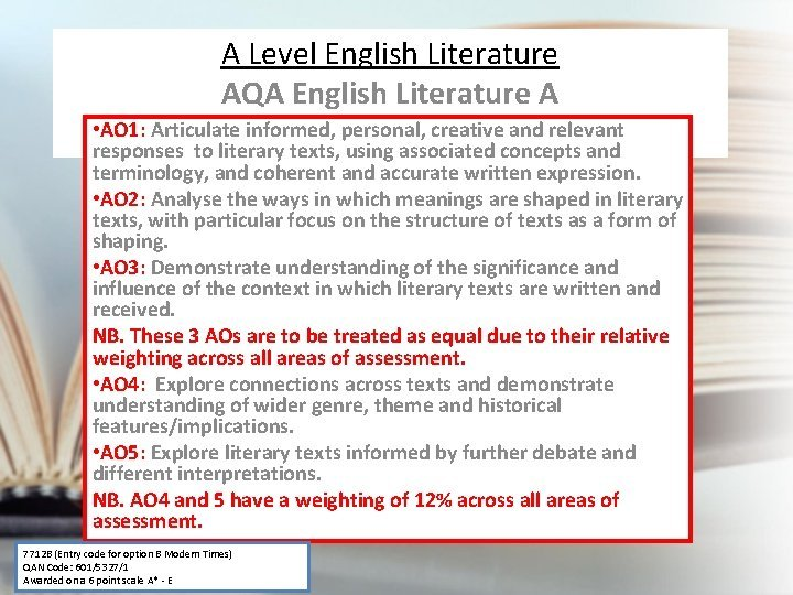 A Level English Literature AQA English Literature A