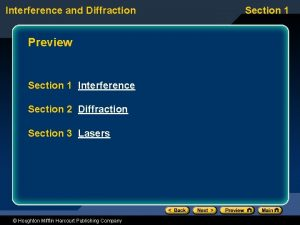 Interference and Diffraction Preview Section 1 Interference Section